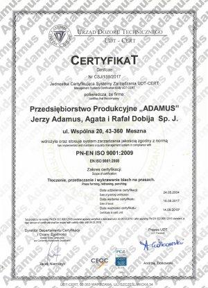 ADAMUS - Certyfikat UDT PN-EN ISO 9001:2009
