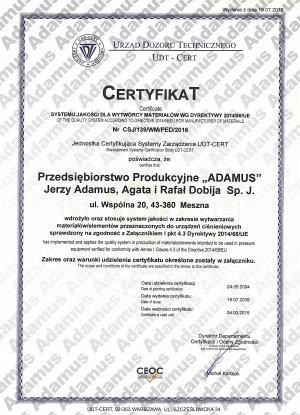 Certyfikat systemu jakości wg dyrektywy 2014/68/UE